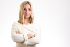 Girl crossed arms Stock Photography