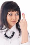 Girl with crossed fingers Stock Image