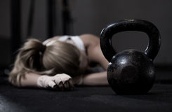 Girl after crossfit training. Portrait of drained girl after hard crossfit training Royalty Free Stock Photo