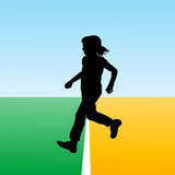 Girl crossing the finish line, concept illustration for new begi Royalty Free Stock Images