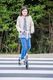 Girl on Crosswalk Royalty Free Stock Image