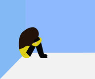 A girl crouch at the corner. This is illustration of someone who give up or dilemma Royalty Free Illustration