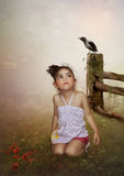 The girl and crow. The little girl in the field and crow on the fence Stock Photos