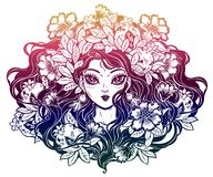 Girl with crown of flowers, pomegranate hair. stock illustration