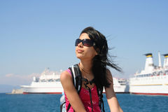 Girl with Cruise Ships Royalty Free Stock Photography