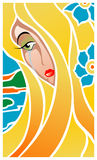Girl is cry. Vector illustration of girl is cry. Stained-glass window style Royalty Free Stock Images