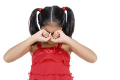 Girl crying. Unhappy girl covering her eyes Royalty Free Stock Photos