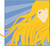 Girl Crying. Crying girl with flowing, wavy hair Royalty Free Stock Photography