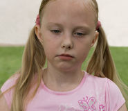 Girl crying. Blonde girl crying in the open air portrait Royalty Free Stock Photo