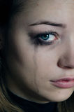 Girl crying. Sad girl. Tears, negative emotions royalty free stock photos