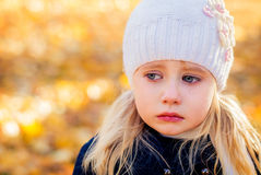 Girl crying. Tears running down face girl Stock Image