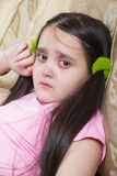 The girl is crying with tears. Sweet girl with tear-stained eyes, sad, looking at the camera royalty free stock photos
