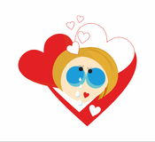 Girl crys love heart Stock Image