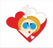 Girl crys love heart Stock Image