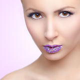 Girl with crystal lips Stock Photography