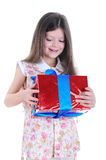 Girl cuddle gift Stock Photography