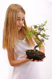 Girl cultivated plant Royalty Free Stock Image