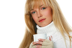 Girl with a cup Stock Images