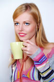 Girl with cup or coffee Royalty Free Stock Photos