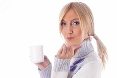 Girl with cup of coffee Royalty Free Stock Image