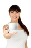Girl with a cup of coffee Stock Images