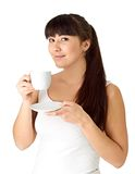Girl with a cup of coffee Stock Photography