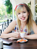 Girl with cup of coffee Royalty Free Stock Photos