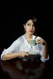 GIRL WITH CUP OF COFFEE Royalty Free Stock Photography