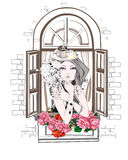 Girl with a cup of coffee in the window. Fashion girl with flowers in abstract hat with a cup of coffee in the retro window vector illustration