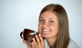 Girl with cup of coffee Stock Image