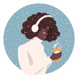 Girl with a cup of coffee royalty free illustration