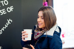 Girl with a cup of coffee Royalty Free Stock Images