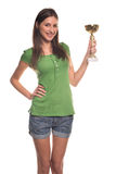 Girl with cup. Girl in green t-shirt with cup Stock Photos
