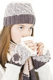Girl with a cup of hot drink. Royalty Free Stock Image