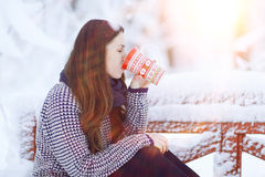 Girl with cup of hot drink Royalty Free Stock Image