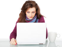Girl cup laptop Stock Photography
