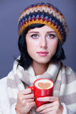 Girl with cup. Stock Photo