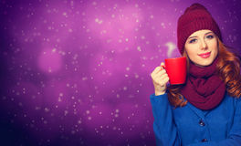 Girl with cup Stock Image