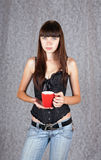 Girl with a cup Royalty Free Stock Photos