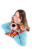 Girl with cup of tea Stock Photos