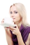 Girl with cup of tea/coffee Stock Photos