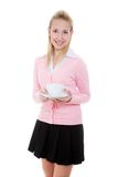 Girl with cup of tea/coffee Royalty Free Stock Photography