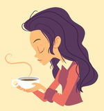 Girl with cup of tee Stock Image