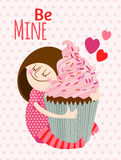 Girl with cupcake. Royalty Free Stock Photo