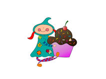 Girl with a cupcake. Vector image of cartoon girl holding a chocolate cupcake with rainbow sprinkles and a cherry on top Stock Photo