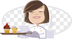Girl and Cupcakes. Chef Girl Handling Sweet Cupcakes Vector Illustration