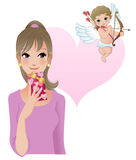 Girl with cupid, valentine's day Royalty Free Stock Images