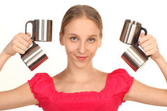 Girl with cups Stock Image