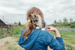 Girl with curiosity kitten Royalty Free Stock Image