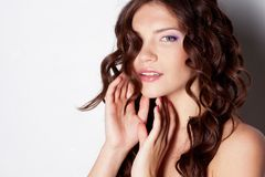 Girl with curl hair Royalty Free Stock Photos